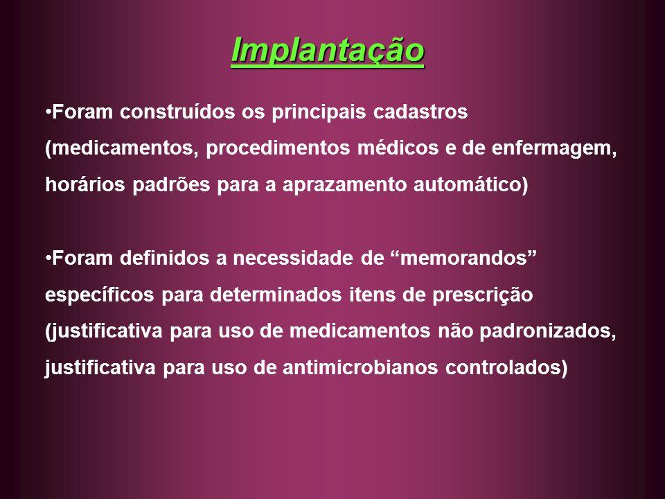 Implantação Foram construídos os principais cadastros (medicamentos, procedimentos médicos e de enfermagem, horários padrões para a aprazamento automá