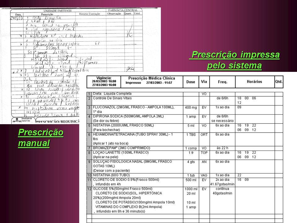 Funcionalidades do sistema Prescrições e processos inerentes : Prescrições e processos inerentes : Médica ( com todos os memorandos necessários e integrado com o SCIH / validação de cobertura ) Enfermagem Fisioterapia / Nutrição Aprazamento manual / automático Solicitação de medicamento para a farmácia manual / automático Checagem / controle de medicamentos checados / envio para conta hospitalar