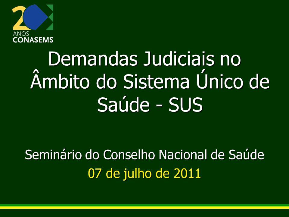 Demandas Judiciais no Âmbito do Sistema Único de Saúde - SUS Seminário do Conselho Nacional de Saúde 07 de julho de 2011