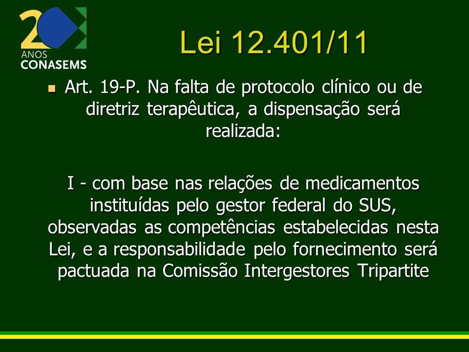 Lei 12.401/11 Art. 19-P. Na falta de protocolo clínico ou de diretriz terapêutica, a dispensação será realizada: Art. 19-P. Na falta de protocolo clín