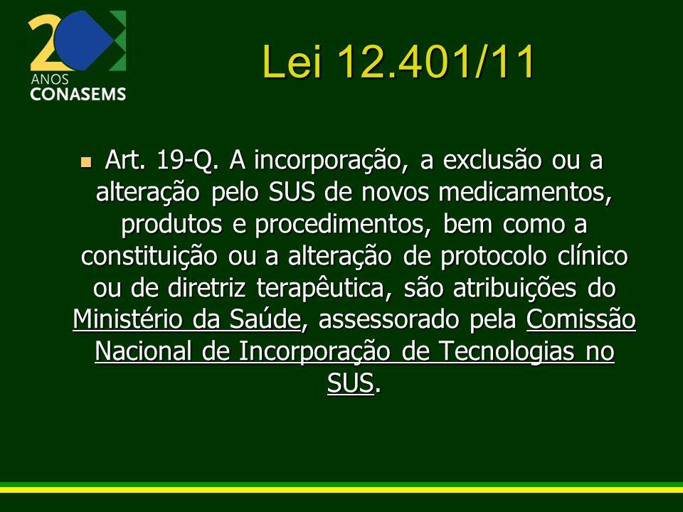 Lei 12.401/11 Art. 19-Q. A incorporação, a exclusão ou a alteração pelo SUS de novos medicamentos, produtos e procedimentos, bem como a constituição o