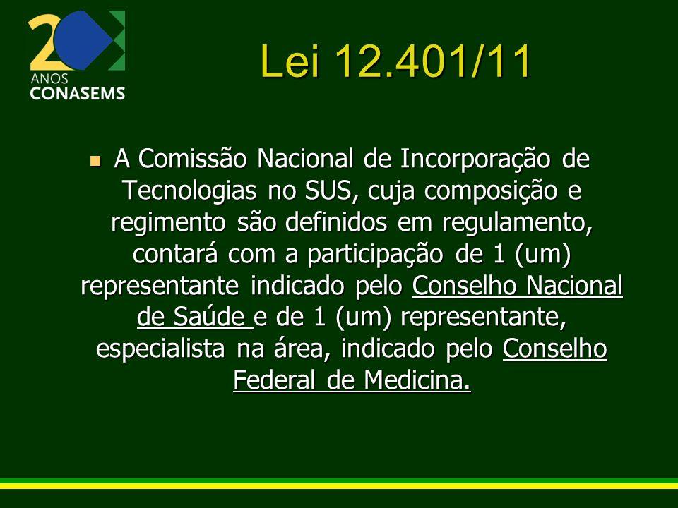 Lei 12.401/11 A Comissão Nacional de Incorporação de Tecnologias no SUS, cuja composição e regimento são definidos em regulamento, contará com a parti