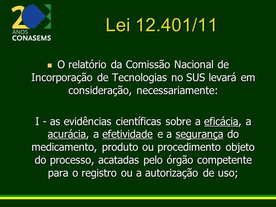 Lei 12.401/11 O relatório da Comissão Nacional de Incorporação de Tecnologias no SUS levará em consideração, necessariamente: O relatório da Comissão