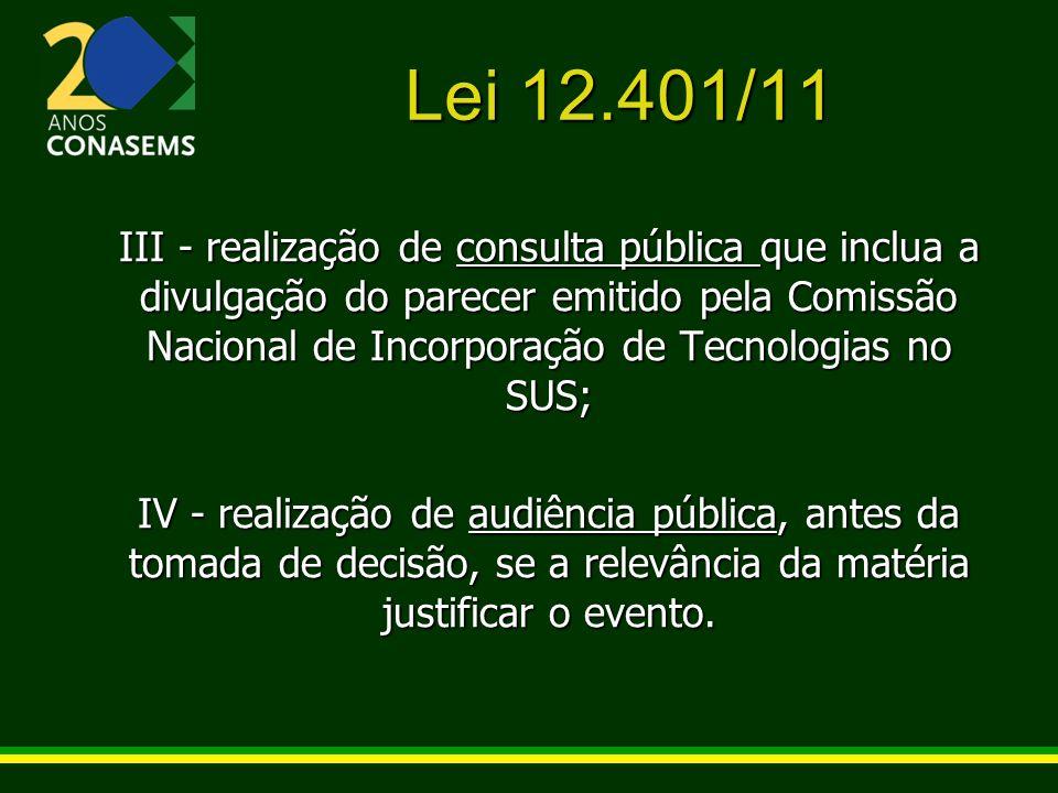 Lei 12.401/11 III - realização de consulta pública que inclua a divulgação do parecer emitido pela Comissão Nacional de Incorporação de Tecnologias no