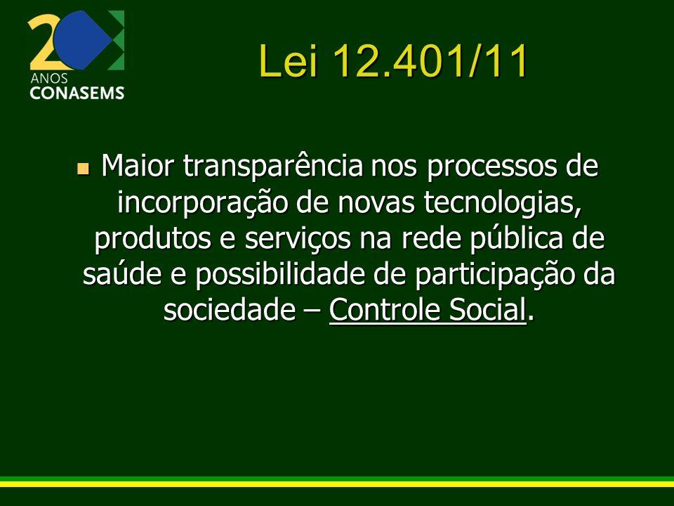 Lei 12.401/11 Maior transparência nos processos de incorporação de novas tecnologias, produtos e serviços na rede pública de saúde e possibilidade de