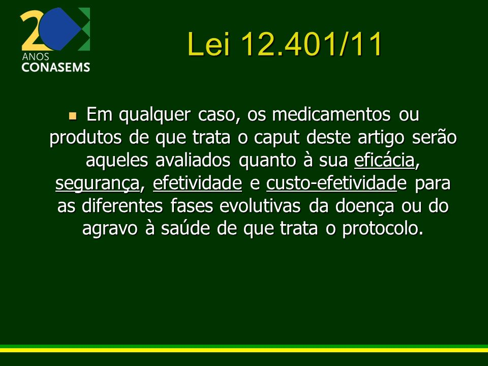 Lei 12.401/11 Em qualquer caso, os medicamentos ou produtos de que trata o caput deste artigo serão aqueles avaliados quanto à sua eficácia, segurança