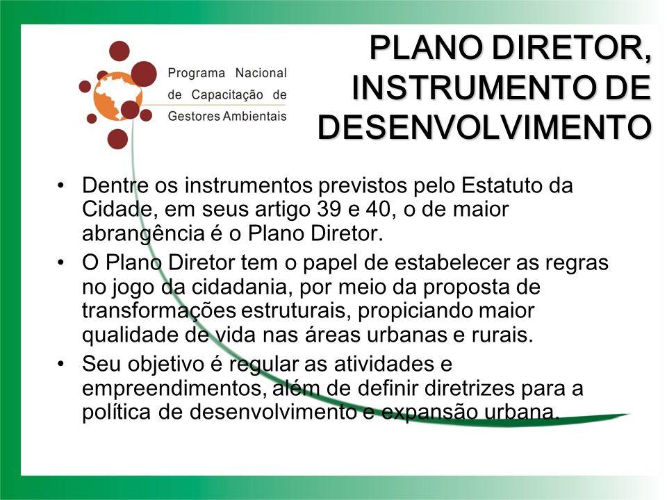 PLANO DIRETOR, INSTRUMENTO DE DESENVOLVIMENTO Dentre os instrumentos previstos pelo Estatuto da Cidade, em seus artigo 39 e 40, o de maior abrangência