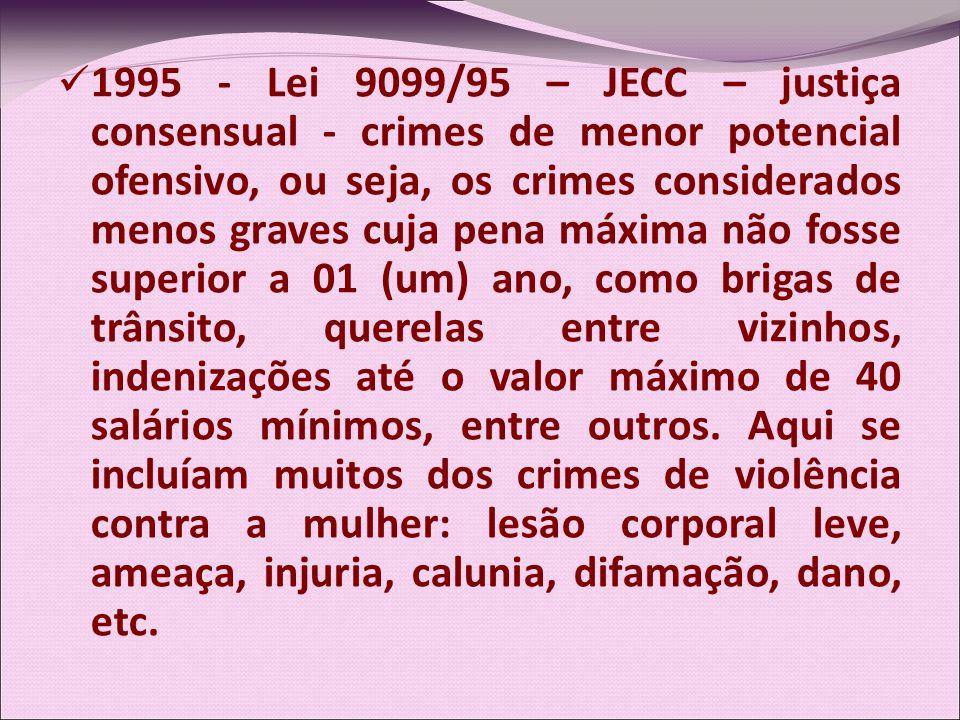 1995 - Lei 9099/95 – JECC – justiça consensual - crimes de menor potencial ofensivo, ou seja, os crimes considerados menos graves cuja pena máxima não