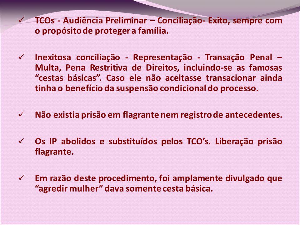 TCOs - Audiência Preliminar – Conciliação- Exito, sempre com o propósito de proteger a família. Inexitosa conciliação - Representação - Transação Pena