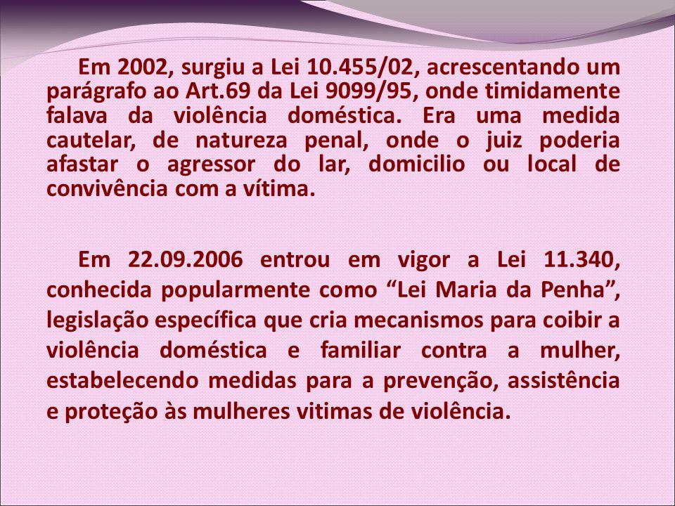 Em 2002, surgiu a Lei 10.455/02, acrescentando um parágrafo ao Art.69 da Lei 9099/95, onde timidamente falava da violência doméstica. Era uma medida c
