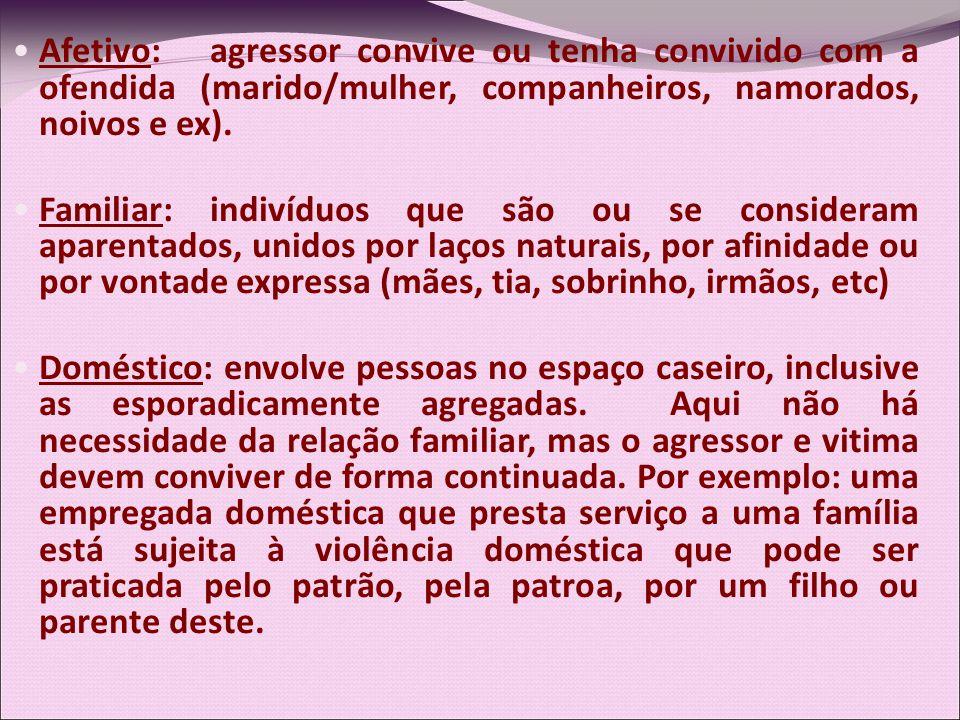 Afetivo: agressor convive ou tenha convivido com a ofendida (marido/mulher, companheiros, namorados, noivos e ex). Familiar: indivíduos que são ou se