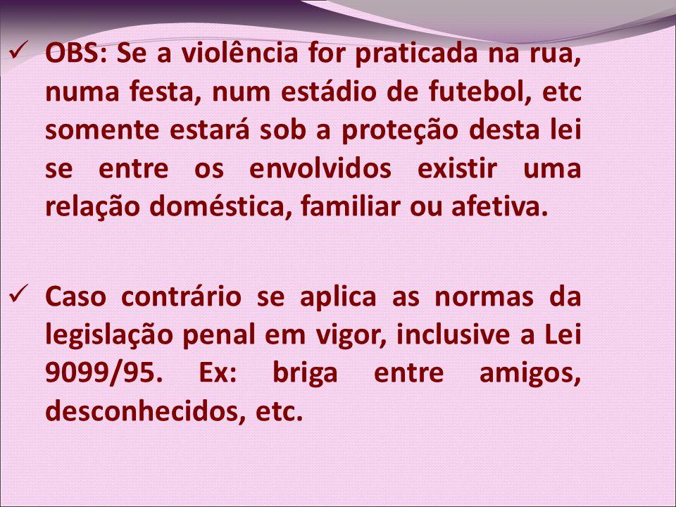OBS: Se a violência for praticada na rua, numa festa, num estádio de futebol, etc somente estará sob a proteção desta lei se entre os envolvidos exist