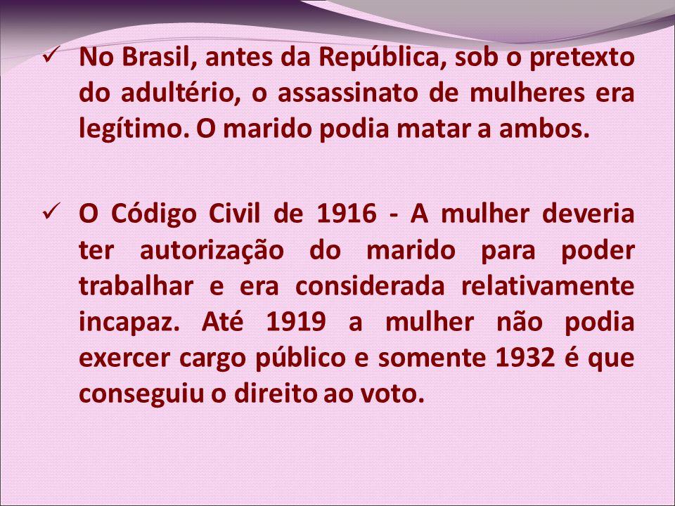 No Brasil, antes da República, sob o pretexto do adultério, o assassinato de mulheres era legítimo. O marido podia matar a ambos. O Código Civil de 19