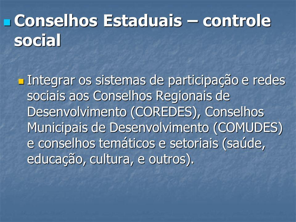 Conselhos Estaduais – controle social Conselhos Estaduais – controle social Integrar os sistemas de participação e redes sociais aos Conselhos Regiona