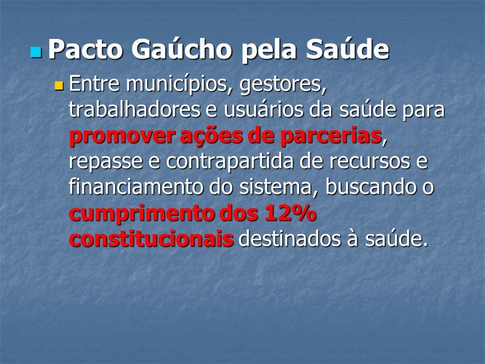 Pacto Gaúcho pela Saúde Pacto Gaúcho pela Saúde Entre municípios, gestores, trabalhadores e usuários da saúde para promover ações de parcerias, repass