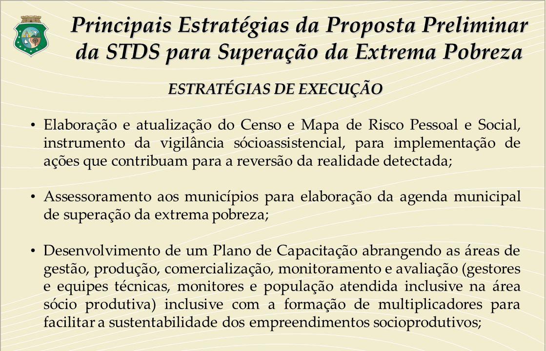ESTRATÉGIAS DE EXECUÇÃO Elaboração e atualização do Censo e Mapa de Risco Pessoal e Social, instrumento da vigilância sócioassistencial, para implemen