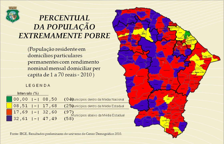 Fonte: IBGE, Resultados preliminares do universo do Censo Demográfico 2010. PERCENTUAL DA POPULAÇÃO EXTREMAMENTE POBRE (População residente em domicíl