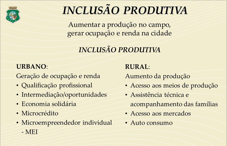 URBANO: Geração de ocupação e renda Qualificação profissional Intermediação/oportunidades Economia solidária Microcrédito Microempreendedor individual