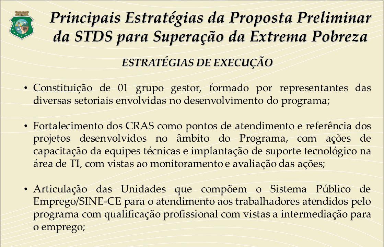 ESTRATÉGIAS DE EXECUÇÃO Constituição de 01 grupo gestor, formado por representantes das diversas setoriais envolvidas no desenvolvimento do programa;