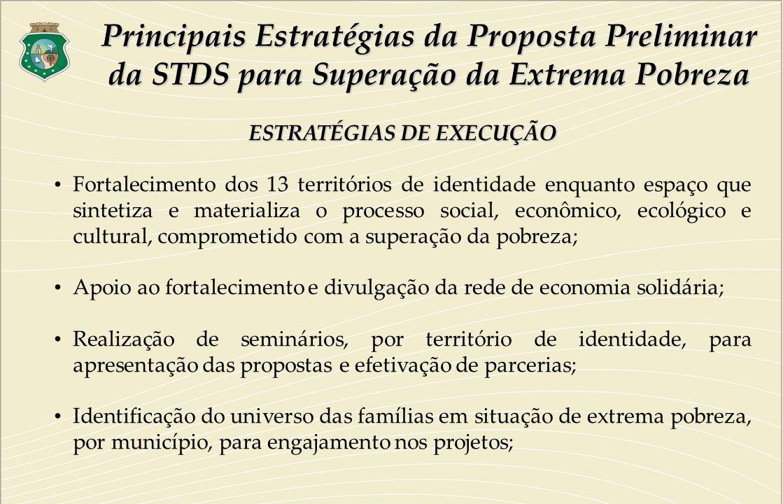 ESTRATÉGIAS DE EXECUÇÃO Fortalecimento dos 13 territórios de identidade enquanto espaço que sintetiza e materializa o processo social, econômico, ecol