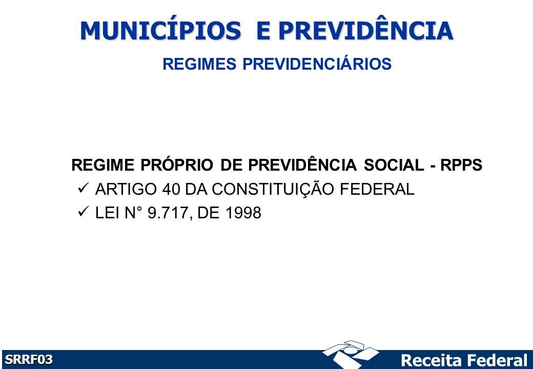 Receita Federal SRRF03 MUNICÍPIOS E PREVIDÊNCIA REGIME PRÓPRIO DE PREVIDÊNCIA SOCIAL - RPPS ARTIGO 40 DA CONSTITUIÇÃO FEDERAL LEI N° 9.717, DE 1998 REGIMES PREVIDENCIÁRIOS