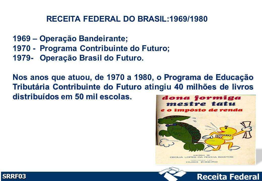 Receita Federal SRRF03 RECEITA FEDERAL DO BRASIL:1969/1980 1969 – Operação Bandeirante; 1970 - Programa Contribuinte do Futuro; 1979- Operação Brasil do Futuro.