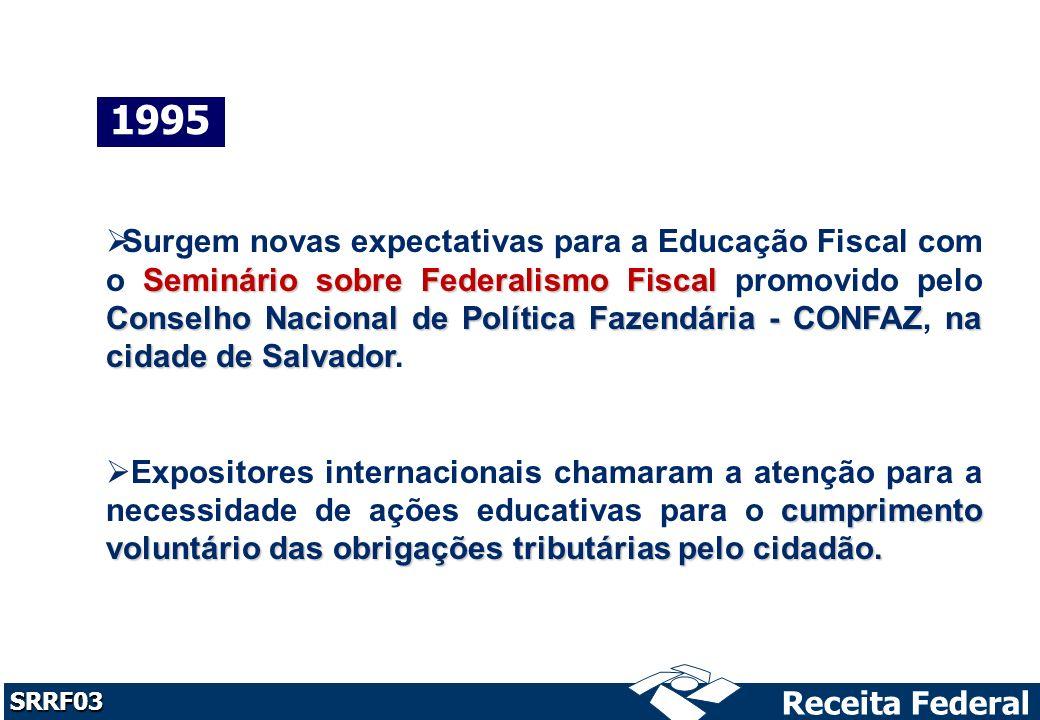 Receita Federal SRRF03 1996 Seminário sobre Administração Tributária Educação Tributária Em maio de 1996, no Seminário sobre Administração Tributária, realizado pelo CONFAZ em Fortaleza, foi inserido o tema Educação Tributária.