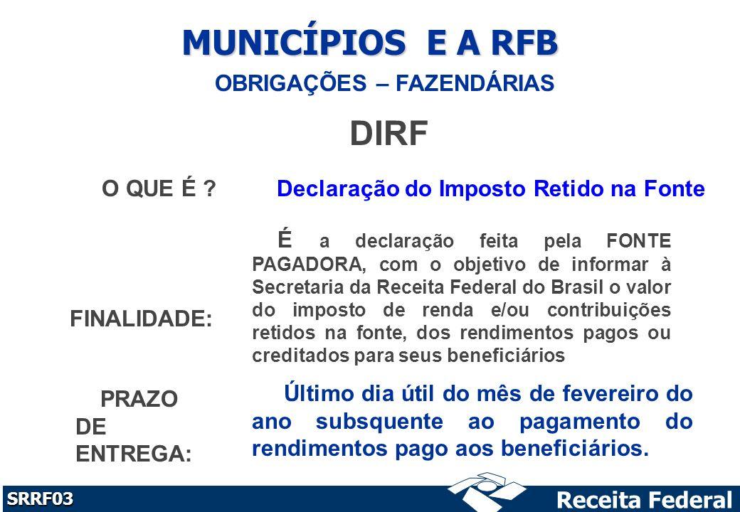 Receita Federal SRRF03 MUNICÍPIOS E A RFB OBRIGAÇÕES – FAZENDÁRIAS DIRF O QUE É .