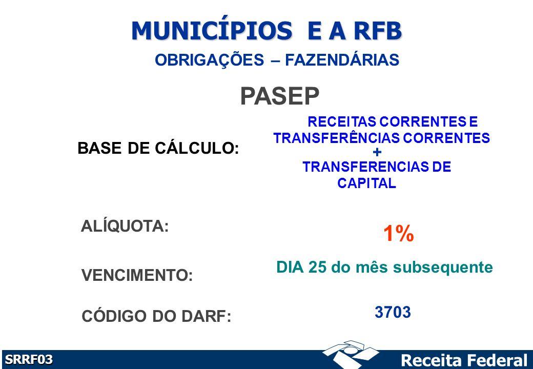Receita Federal SRRF03 MUNICÍPIOS E A RFB OBRIGAÇÕES – FAZENDÁRIAS PASEP BASE DE CÁLCULO: RECEITAS CORRENTES E TRANSFERÊNCIAS CORRENTES TRANSFERENCIAS DE CAPITAL ALÍQUOTA: 1% VENCIMENTO: DIA 25 do mês subsequente CÓDIGO DO DARF: 3703 +