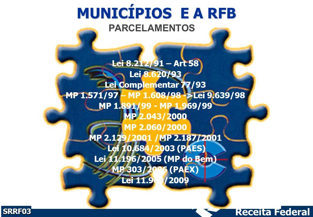 Receita Federal SRRF03 PARCELAMENTOS Lei 8.212/91 – Art 58 Lei 8.620/93 Lei Complementar 77/93 MP 1.571/97 – MP 1.608/98 ->Lei 9.639/98 MP 1.891/99 - MP 1.969/99 MP 2.043/2000 MP 2.060/2000 MP 2.129/2001 /MP 2.187/2001 Lei 10.684/2003 (PAES) Lei 11.196/2005 (MP do Bem) MP 303/2006 (PAEX) Lei 11.960/2009 MUNICÍPIOS E A RFB