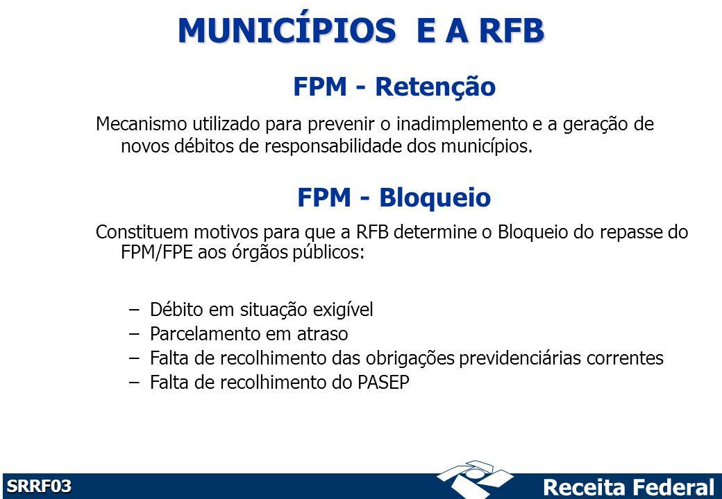 Receita Federal SRRF03 FPM - Retenção Mecanismo utilizado para prevenir o inadimplemento e a geração de novos débitos de responsabilidade dos municípios.