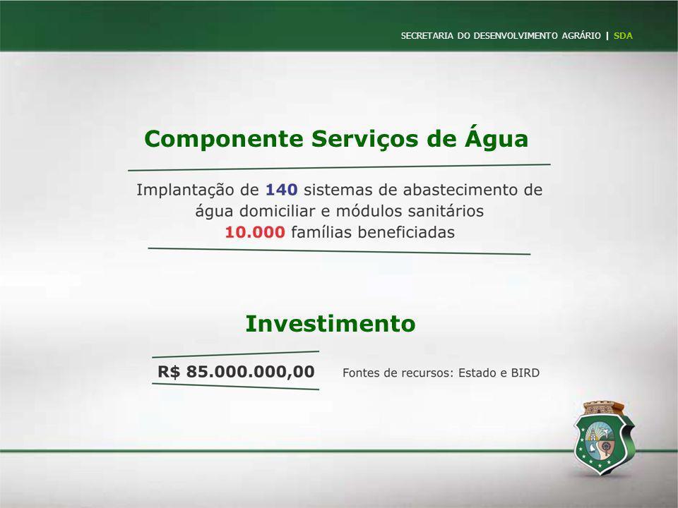 SECRETARIA DO DESENVOLVIMENTO AGRÁRIO   SDA Componente Serviços de Água Investimento