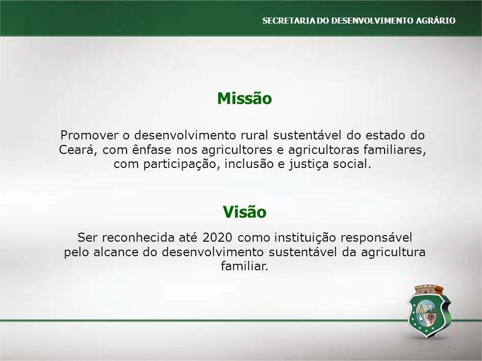 SECRETARIA DO DESENVOLVIMENTO AGRÁRIO Missão Promover o desenvolvimento rural sustentável do estado do Ceará, com ênfase nos agricultores e agricultor