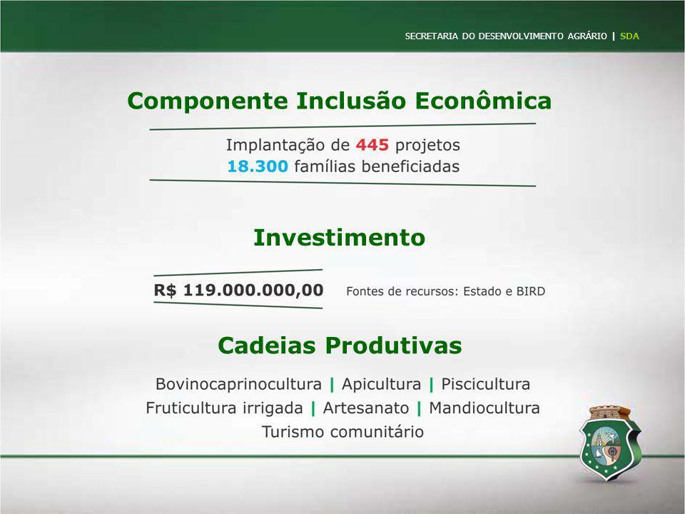 SECRETARIA DO DESENVOLVIMENTO AGRÁRIO   SDA Componente Inclusão Econômica Cadeias Produtivas Investimento