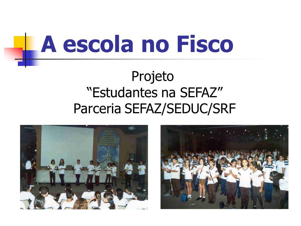 A escola no Fisco Projeto Estudantes na SEFAZ Parceria SEFAZ/SEDUC/SRF
