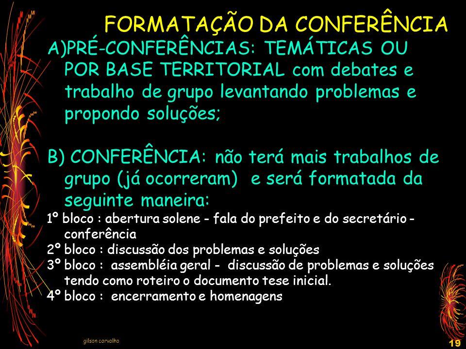 gilson carvalho 19 FORMATAÇÃO DA CONFERÊNCIA A)PRÉ-CONFERÊNCIAS: TEMÁTICAS OU POR BASE TERRITORIAL com debates e trabalho de grupo levantando problema