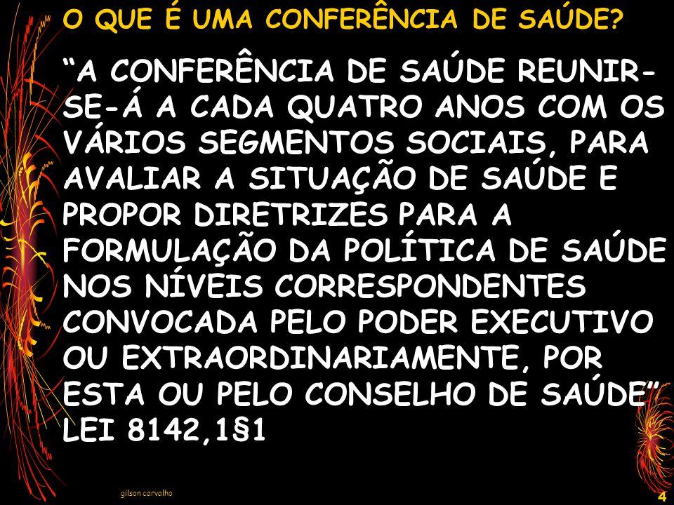gilson carvalho 15 ESTRUTURA DA CONFERÊNCIA A)PRÉ-CONFERÊNCIAS CENTRADAS EM ASSUNTOS INDIVIDUALIZADOS B) PRÉ-CONFERÊNCIAS CENTRADAS EM BASE TERRITORIAL C) CONFERÊNCIA MUNICIPAL DE SAÚDE – O EVENTO FINAL