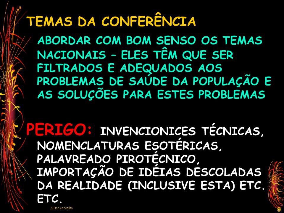 gilson carvalho 9 TEMAS DA CONFERÊNCIA ABORDAR COM BOM SENSO OS TEMAS NACIONAIS – ELES TÊM QUE SER FILTRADOS E ADEQUADOS AOS PROBLEMAS DE SAÚDE DA POP
