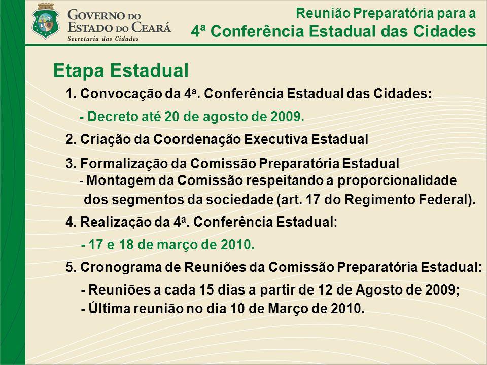 Etapa Estadual 1. Convocação da 4 a. Conferência Estadual das Cidades: - Decreto até 20 de agosto de 2009. 2. Criação da Coordenação Executiva Estadua