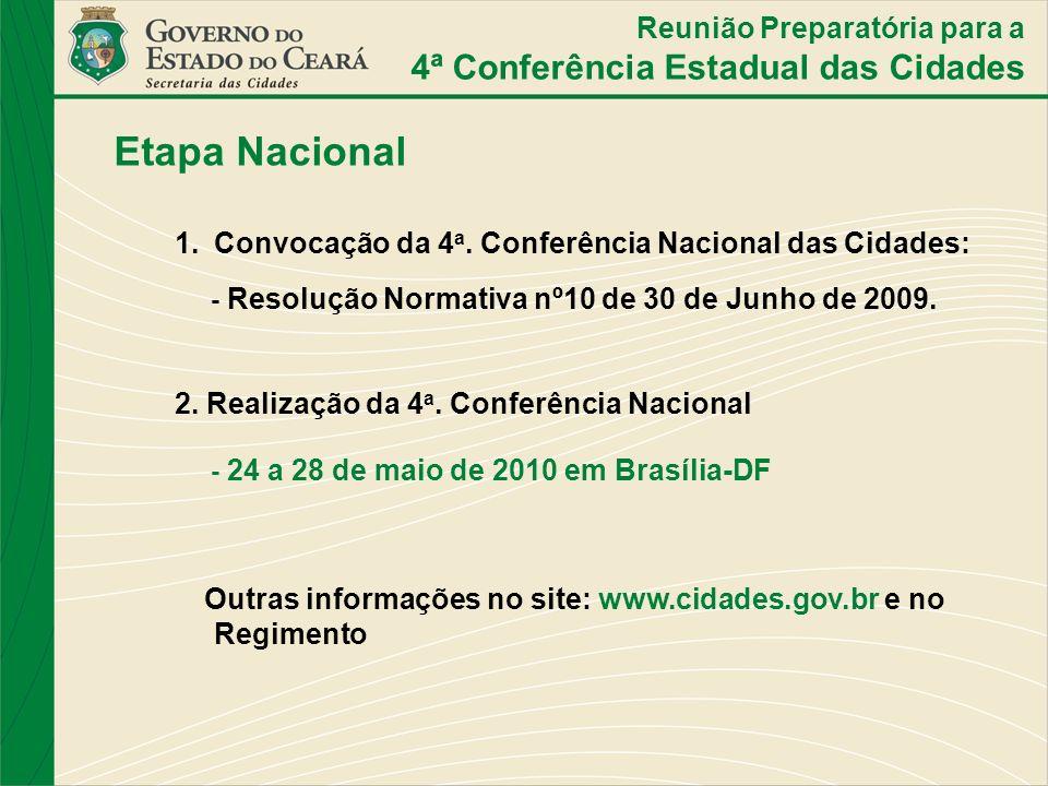 Etapa Nacional 1.Convocação da 4 a. Conferência Nacional das Cidades: - Resolução Normativa nº10 de 30 de Junho de 2009. 2. Realização da 4 a. Conferê