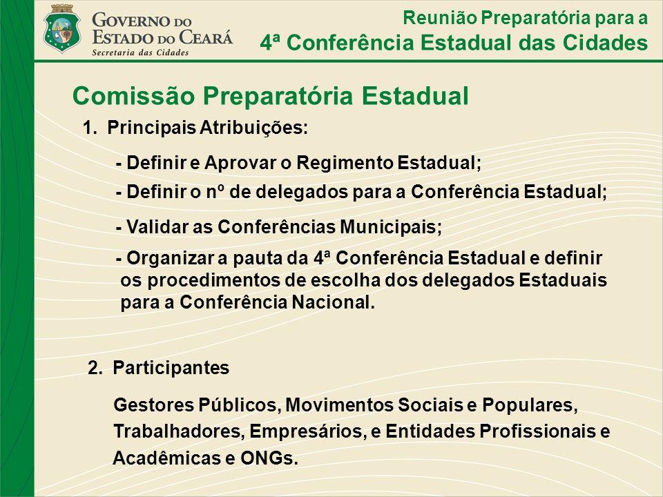 Comissão Preparatória Estadual 1.Principais Atribuições: - Definir e Aprovar o Regimento Estadual; - Definir o nº de delegados para a Conferência Esta