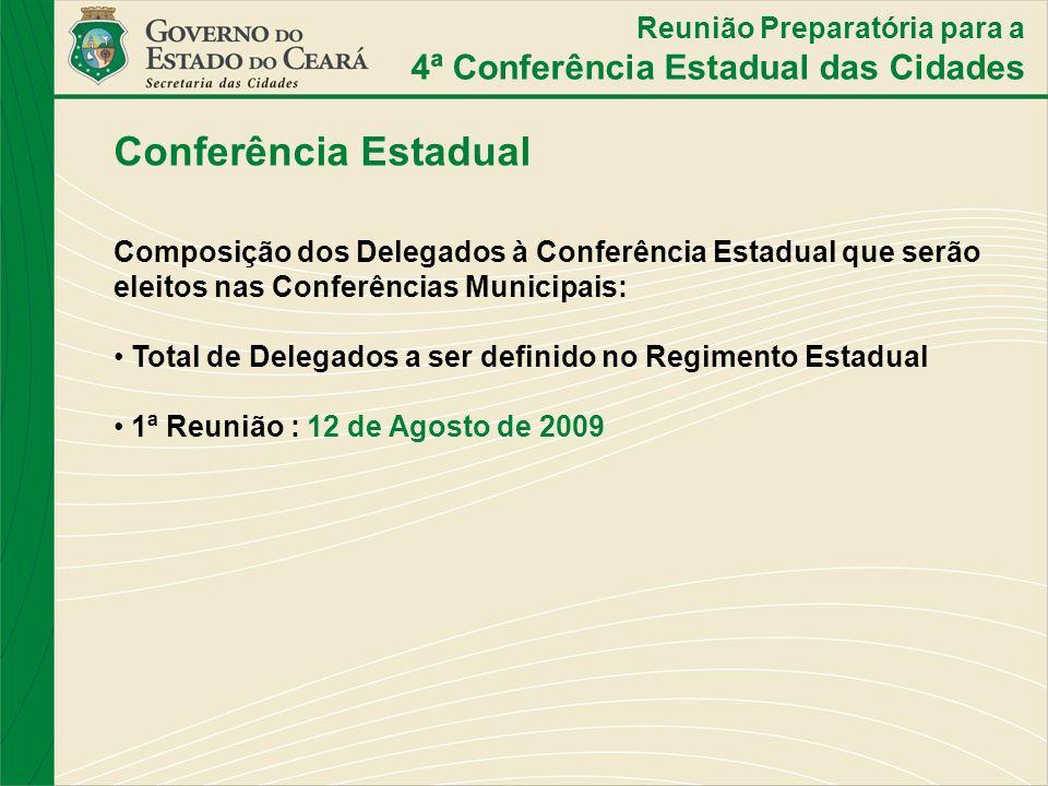 Conferência Estadual Composição dos Delegados à Conferência Estadual que serão eleitos nas Conferências Municipais: Total de Delegados a ser definido