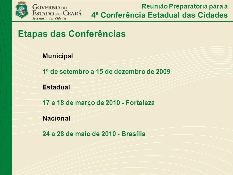 Etapas das Conferências Municipal 1º de setembro a 15 de dezembro de 2009 Estadual 17 e 18 de março de 2010 - Fortaleza Nacional 24 a 28 de maio de 20