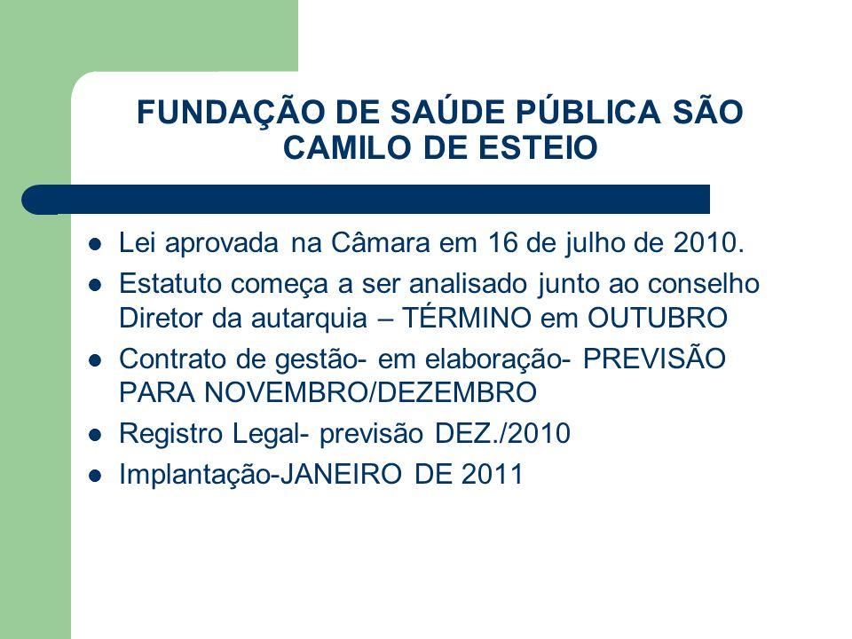 FUNDAÇÃO DE SAÚDE PÚBLICA SÃO CAMILO DE ESTEIO Lei aprovada na Câmara em 16 de julho de 2010. Estatuto começa a ser analisado junto ao conselho Direto