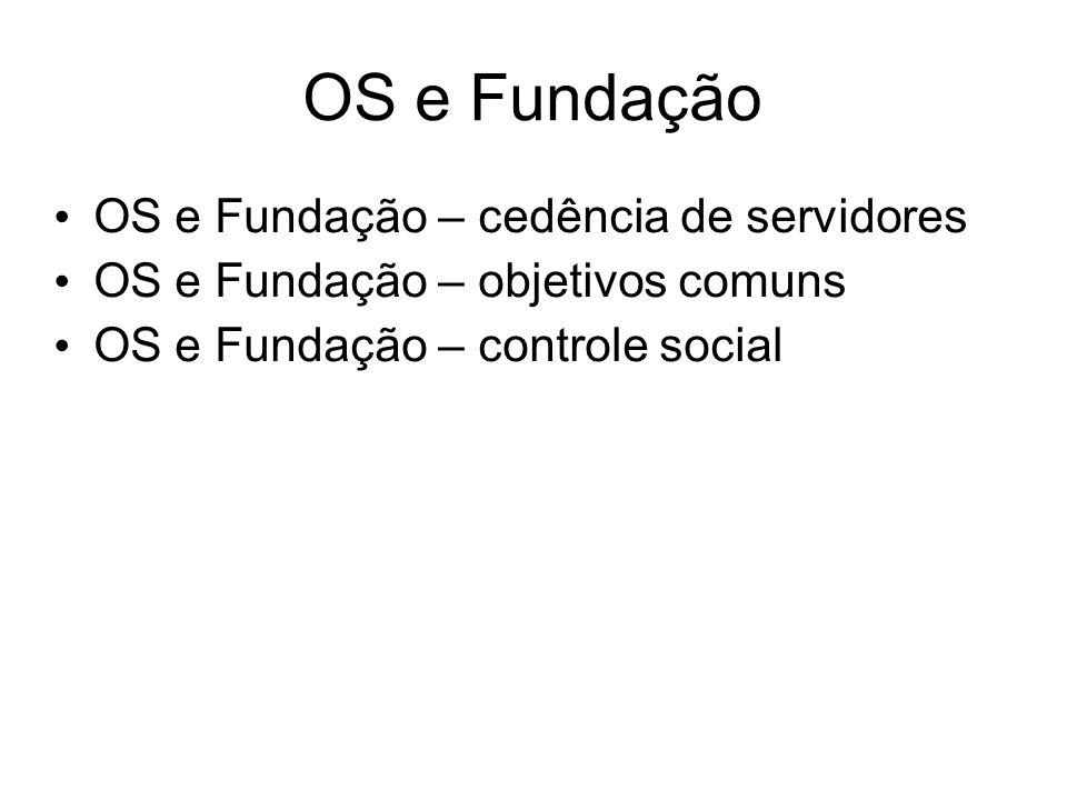 OS e Fundação OS e Fundação – cedência de servidores OS e Fundação – objetivos comuns OS e Fundação – controle social