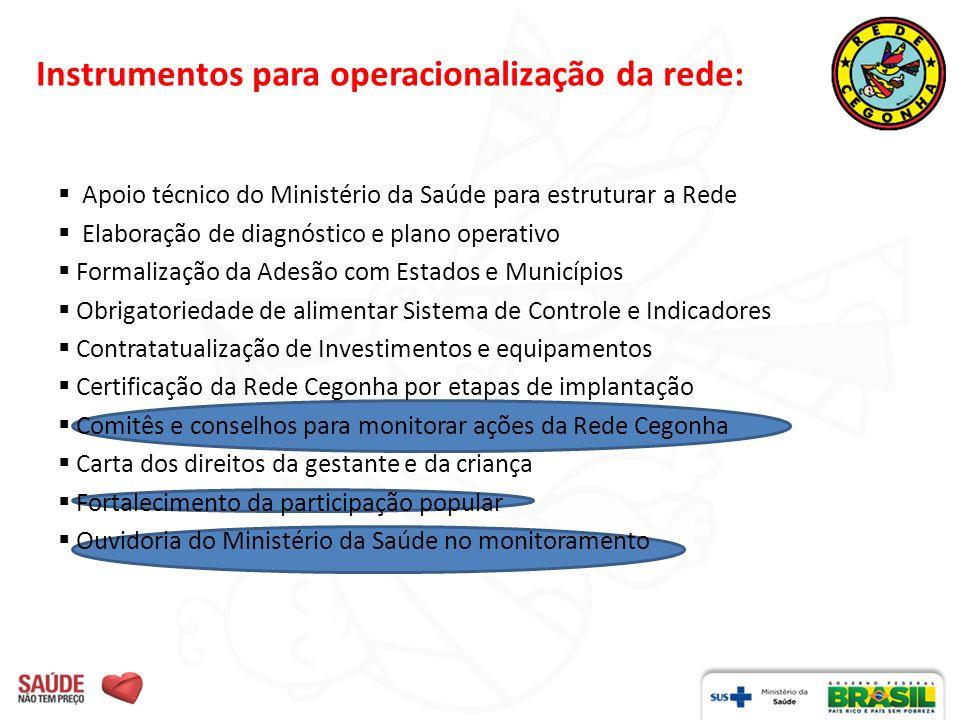 Instrumentos para operacionalização da rede: Apoio técnico do Ministério da Saúde para estruturar a Rede Elaboração de diagnóstico e plano operativo F