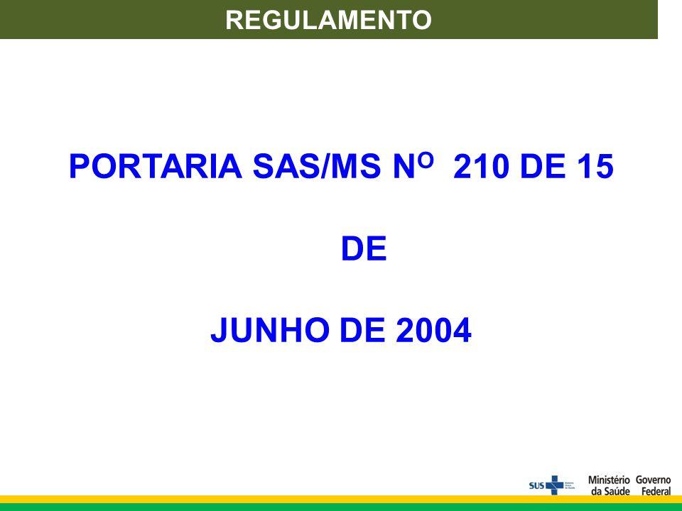 REGULAMENTO PORTARIA SAS/MS N O 210 DE 15 DE JUNHO DE 2004