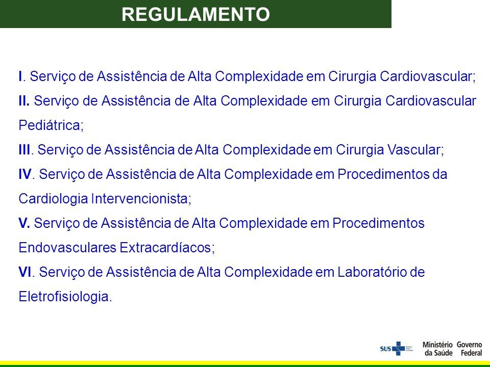 I. Serviço de Assistência de Alta Complexidade em Cirurgia Cardiovascular; II.