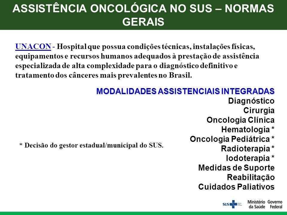 UNACON - Hospital que possua condições técnicas, instalações físicas, equipamentos e recursos humanos adequados à prestação de assistência especializada de alta complexidade para o diagnóstico definitivo e tratamento dos cânceres mais prevalentes no Brasil.