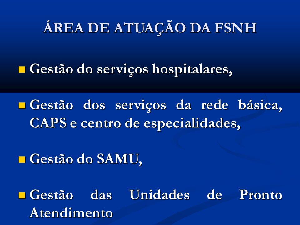 ÁREA DE ATUAÇÃO DA FSNH Gestão do serviços hospitalares, Gestão do serviços hospitalares, Gestão dos serviços da rede básica, CAPS e centro de especia